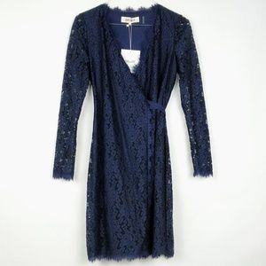 DVF Julian 2 Lace Wrap Long Sleeve Dress